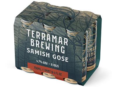 Samish six pack box 6 pack nautical branding 2d digital painting bottle label can packaging procreate illustraion seaweed kelp brewery brewing brew ale beer