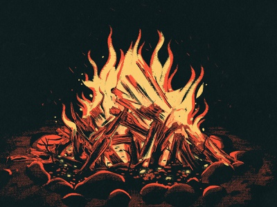 Campfire fireplace bonfire blaze 2d drawing vintage retro procreate illustration burning flame outdoors camp backpacking camping campfire fire