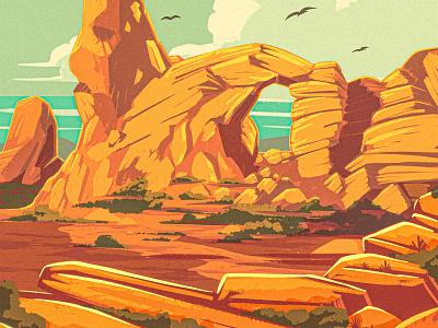 More Rock Stuff! vintage retro digital painting procreate 2d illustration landscape national park wpa arches desert southwest western formation boulder stone rock