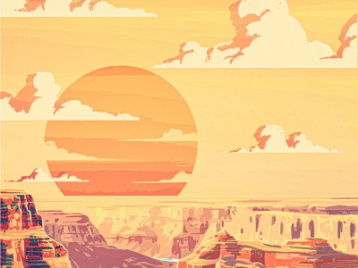 Canyon procreate vintage retro wpa illustration river boulder stone rock sky landscape clouds sunset sun arizona southwest desert gorge canyon gran