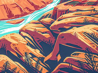Canyon canyonlands works progress administration arizona national park wpa digital painting 2d procreate illustration landscape stone boulder rock desert southwest western river gorge canyon