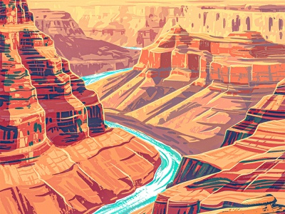 Canyon digital painting procreate 2d illustraion western southwest arizona desert boulder stone rock gorge park national wpa nps canyon grand
