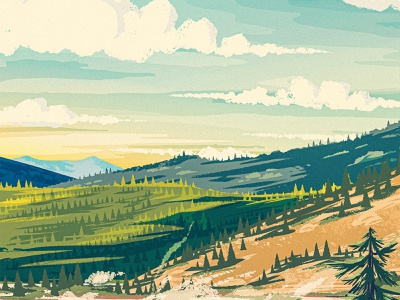 Landscape works progress administration wpa forest sky clouds pine digital panting yellowstone park national digital painting 2d procreate illustration landscape valley hill mountain
