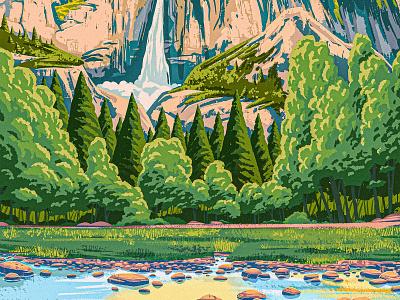 Yosemite drawing valley parks park national falls water rocks trees works progress administration wpa vintage retro landscape waterfall yosemite digital painting 2d procreate illustration