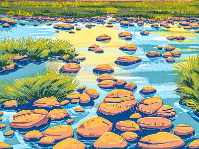 Yosemite california landscape creek rocks wetland marsh brook river stream works progress administration wpa vintage retro digital painting 2d procreate illustration park national yosemite