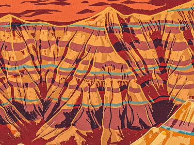 Badlands stone western south dakota rock formation desert poster travel works progress administration wpa digital painting 2d procreate illustration vintage retro park national badlands
