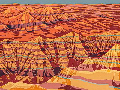 Badlands vintage retro mountain parks formation rock works progress administration landscape western badlands wpa 2d digital painting procreate illustration