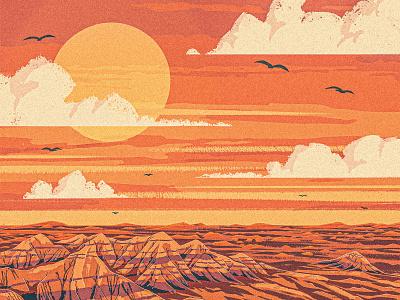 Badlands sky sunset mountain travel poster works progress administration wpa park national landscape dakota western southwest digital painting 2d procreate illustration formation rock badlands