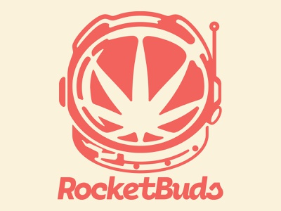 RocketBuds design 2d typography brand logotype branding logo helmet shuttle nasa bud rocket space astronaut marijuana pot cannabis weed