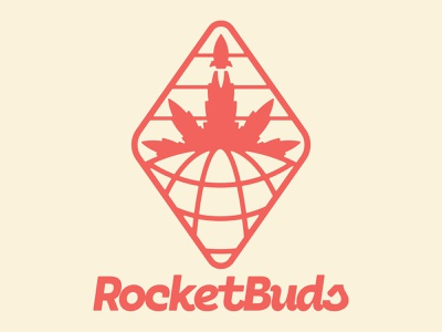 RocketBuds 2d branding brand leaf bud cannabis logotype logo patch nasa space rocket marijuana pot badge weed