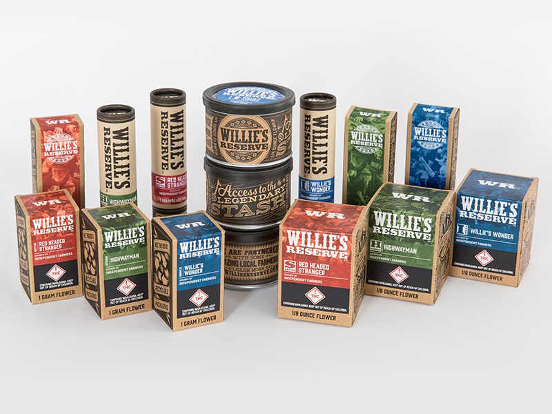 Willies Reserve Packaging Collection willies reserve willie nelson cannabis marijuana weed pot packaging