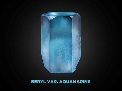 Aquamarine Crystal gem mineral vector illustration gradient mesh crystal beryl aquamarine