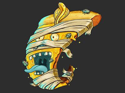 King Hut food beetle scarab egypt procreate digital painting illustration monster horror pizza mummy