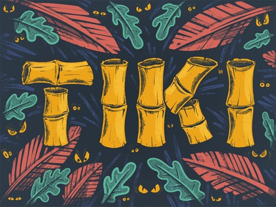 TIKI 2d digital painting illustration procreate typography type lettering letters monsters bamboo tiki