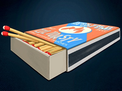 'Lil Toasty Matchbox 2d matchbox match matches toasty vintage packaging digital painting illustration procreate