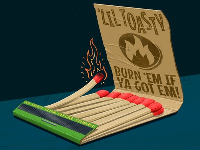 'Lil Toasty Matchbook procreate illustration digital painting packaging vintage toasty matches match matchbook 2d