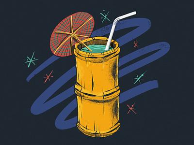 Tiki Punch tiki bamboo drink cocktail tropical liquor beverage procreate illustration digital painting