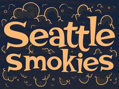 Seattle Smokies smoke procreate seattle 60s 50s mid century hand drawn type 2d typography lettering type