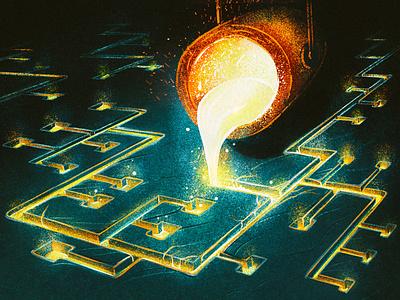 SiteGround Playoff mold 2d procreate molten metal illustration crucible craft internet playoff