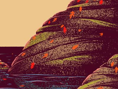 Fall Landscape Stuff #3 fall rocks water leaves leaf autumn illustration digital painting procreate ipad pro 2d