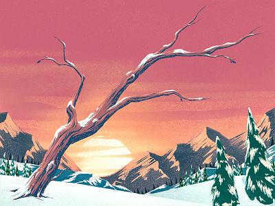 Snowy Sunset 3 mountains 2d illustration ipad pro procreate digital painting winter sunset trees landscape snow