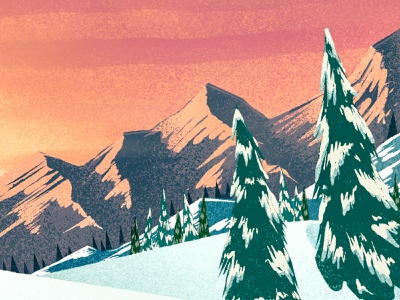 Snowy Sunset 2 mountains 2d illustration ipad pro procreate digital painting winter sunset trees landscape snow