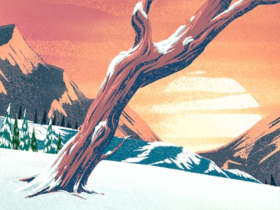 Snowy Sunset 1 mountains 2d illustration ipad pro procreate digital painting winter sunset trees landscape snow