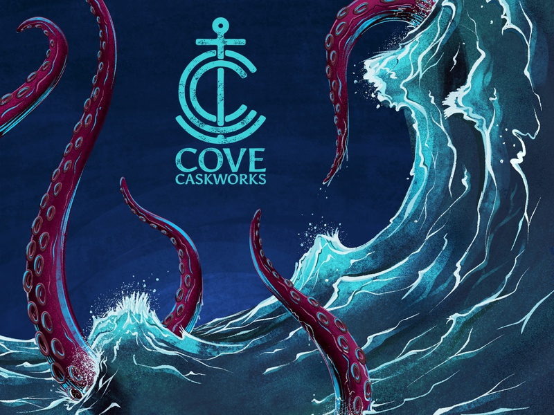 Cove Key Art #1 kraken ocean tentacle water wave procreate illustration beer brewery logo branding monogram anchor nautical icon wordmark logomark brewing cove caskworks