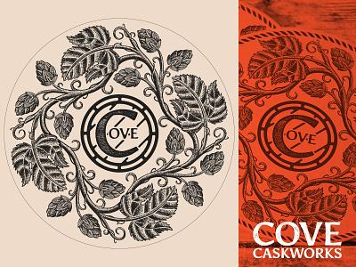 Cove Caskworks Coaster cask barrel beer brewery logo branding icon wordmark logomark brewing cove caskworks