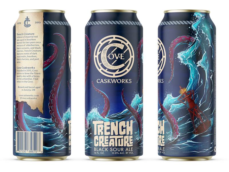 Trench Creature Black Sour Ale packaging pint can cove brewing logomark wordmark icon monogram branding logo brewery beer illustration procreate wave water tentacle ocean kraken