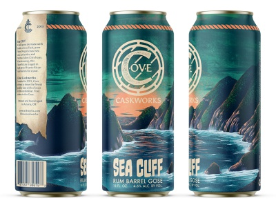 Sea Cliff Rum Barrel Gose pacific coast pnw ocean water wave procreate illustration beer brewery logo branding wordmark logomark brewing cove can pint packaging