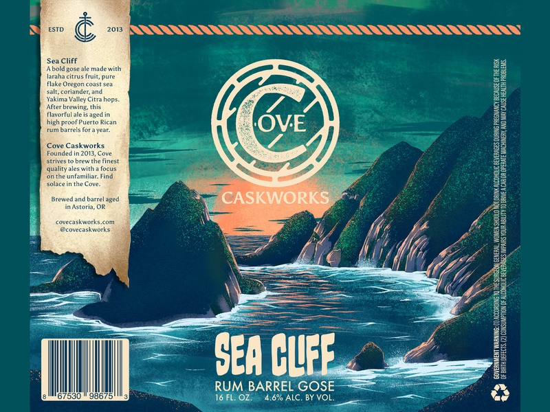 Sea Cliff Rum Barrel Gose pacific packaging pint can cove brewing logomark wordmark branding logo brewery beer illustration procreate wave water ocean pnw coast
