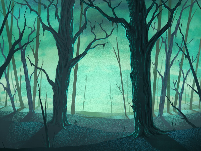 Hazy Lager Key Art packaging brewery digital painting creepy ipad pro procreate spooky trees woods illustration forest hazy lager brewing beer