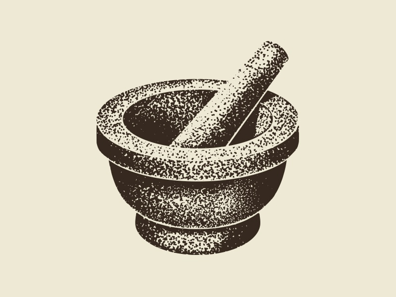 Mortar and Pestle ipad pro procreate medicine herbal herbalism apothecary illustration branding stippling logo pestle mortar