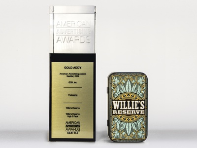 Gold ADDY seattle tin joint cannabis weed marijuana design packaging award american advertising award addy