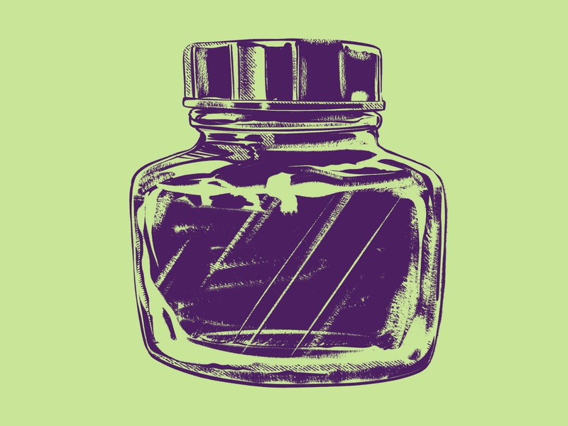 Ink Bottle Numero Uno container retro 2d drawing ipad pro procreate digital painting illustration bottle ink