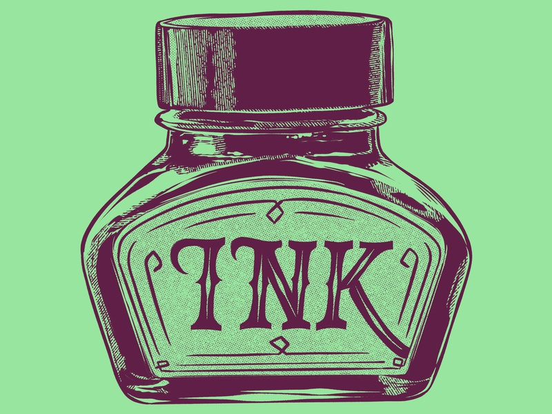 Ink Bottle Numero Tres ink bottle illustration digital painting procreate ipad pro drawing 2d retro container