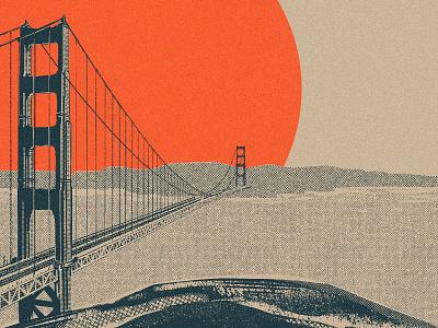 Golden Gate (WIP) 2d halftone digital painting drawing ipad pro procreate landscape illustration landscape water golden gate architecture bridge california san francisco