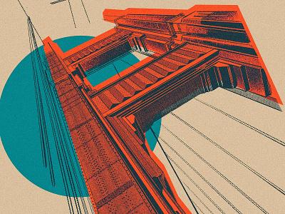 Golden Gate west coast san francisco sf california apple pencil procreate ipad pro sketch drawing illustration architecture bridge golden gate
