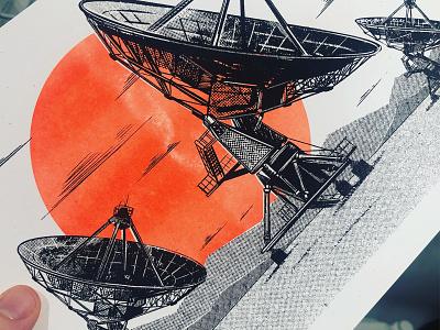 Risograph Prints diy landscape satelite ipad pro procreate drawing 2d poster printmaking illustration risograph riso