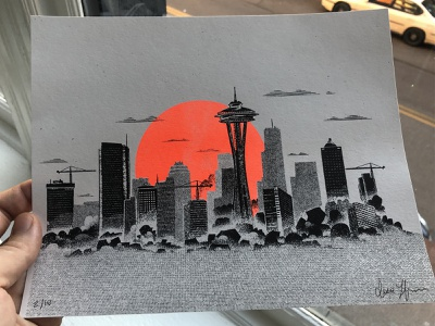 Riso Seattle ipad pro procreate merch poster 2d drawing illustration washington pnw space needle seattle printmaking risograph riso