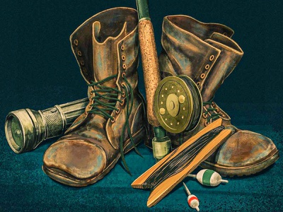 These Boots Were Made for Fishing bootstrap still life painting 2d ipad pro procreate digital painting illustration flashlight tackle reel fishing fish boots