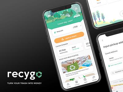 Recygo - Turn Your Trash Into Money logo mobile design mobile app product design ux ui uiux user experience user interface