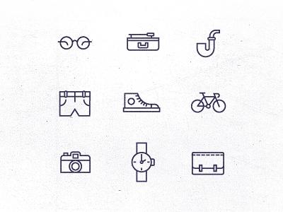 morning exercise icons lines floris camera glasses pipe lp shorts watch bag bike shoe