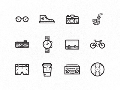 Hipster icons hipster icons watch bike tea lp vinyl player glasses camera pipe boombox