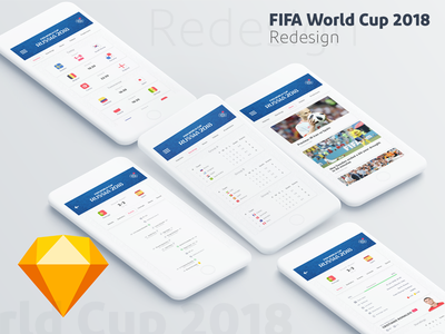 FIFA World Cup 2018 App Redesign uplabs freebie sketch mobile sport redesign ios android app world cup soccer fifa