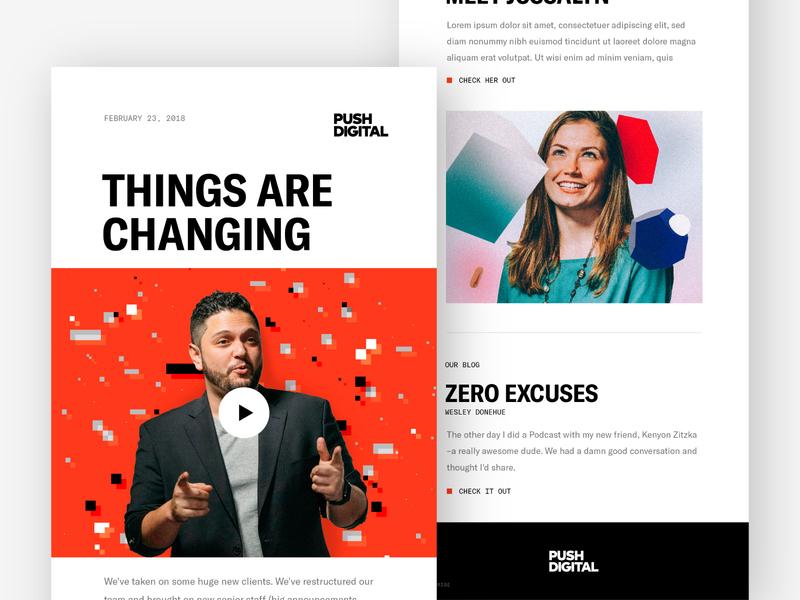 Push Digital Newsletter newsletter web ui vector typography type photography logo flat design color branding 3d art
