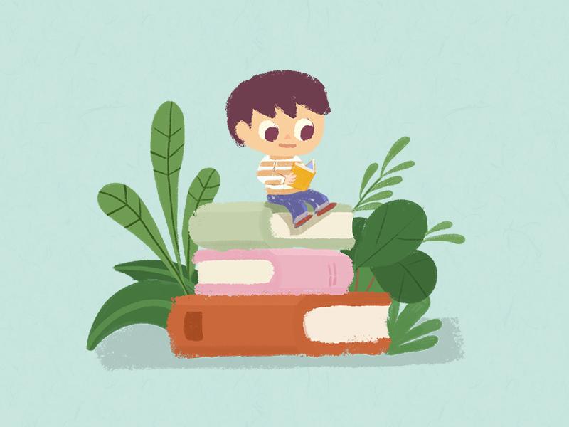 Reading boy illustration peaceful plant books reading boy