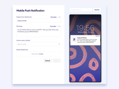 Push notification builder mobile dashboard builder push notification ux ui