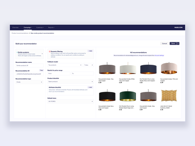 Product recommendation builder product design ui design ux design design ux ui dashboard